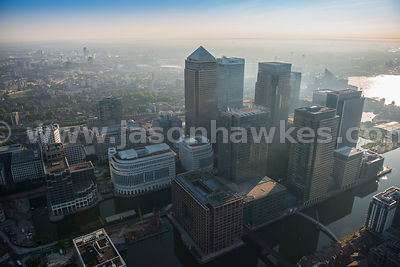 Aerial view of Canary Wharf at sunrise, London