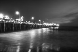 Santa Monica Pier at Night Black and White Photo