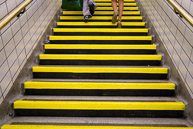 Steps at an underground station in London, England.