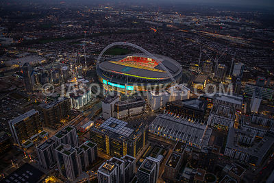 The SSE Arena, Wembley . Dusk aerial view of Wembley Park and Wembley Stadium, Brent. England.