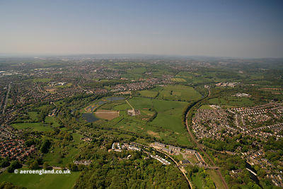 aerial photograph of the River Aire in Leeds