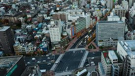 Bird's Eye: Busy Bunkyo Intersection Comes To Life As The City Lights Switch On