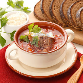 Ukrainian and russian national red borsch with bread