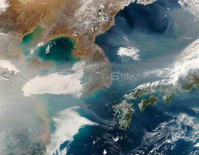 EARTH Eastern Asia -- 06 Feb 2007 -- On February 6, 2007, thick haze blew across the Yellow Sea and the Korean Peninsula towa...