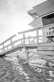 Santa Monica Lifeguard Station 15 Black and White Photo