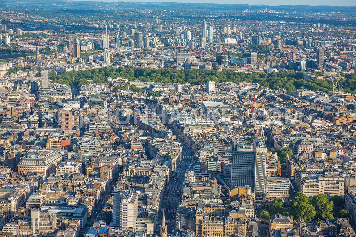Aerial view of Regent St, Langham Place, Oxford Circus, London, London West End. Cavendish Square Gardens, The Langham London...