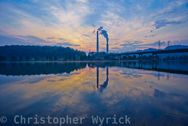 Gorgeous sunrise shot across the Clinch River toward the Bull Run Steam plant.  Gorgeous colors and beautiful reflections mak...