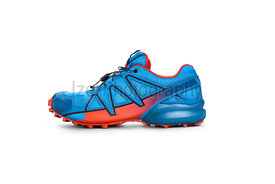 Front view of blue and Orange trainers isolated on a white background.