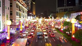 Close Up: Traffic In Chinatown, Singapore