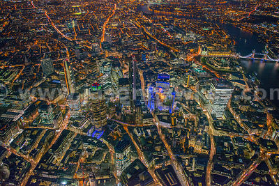 City of London aerial view at night