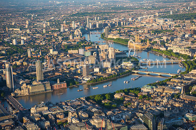 Aerial view of London, Waterloo Bridge from City of London with Southbank Centre towards London Eye.