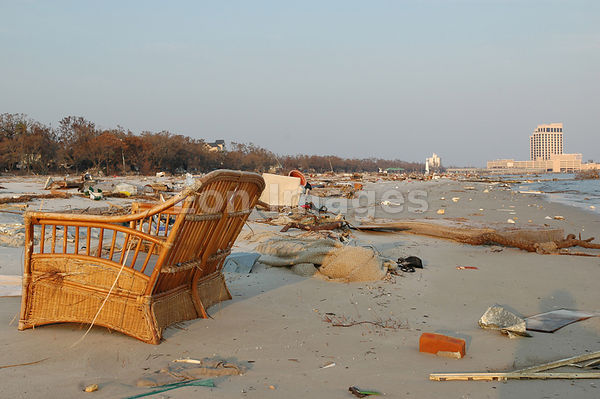 Beach debris in Biloxi, MS from Hurricane Katrina