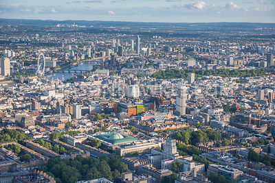 Aerial view, British Museum, Senate House, University of London, Bedford Square Garden, Bloomsbury,  West End, Central Saint ...