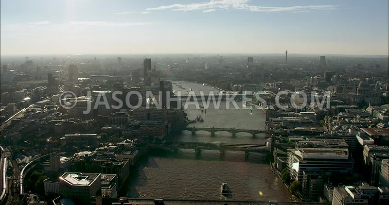 London Aerial Footage of River Thames with London Bridge and Southwark Bridge