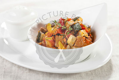 Traditional vegetable ratatouille on white plate