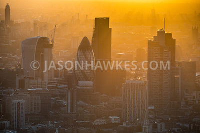 Aerial view of the tower in the City of London. 20 Fenchurch St, 30 St Mary Axe, City of London, Dusk, Heron Tower, Leadendha...