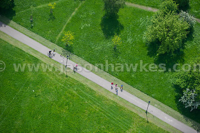 Aerial view of people walking in Clapham Common, Clapham, London
