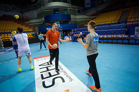 Players and kids during the Final Tournament - Final Four - SEHA - Gazprom league, Kids day in Brest, Belarus, 08.04.2017, Ma...