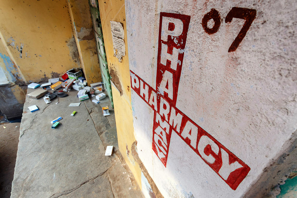 Discarded medicine boxes outside of a pharmacy, Pushkar, Rajasthan, India