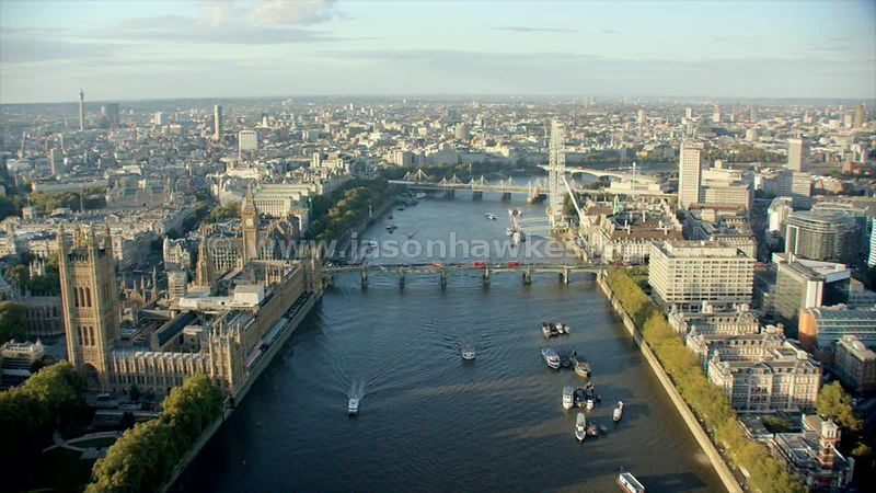 Aerial footage of London, House of Parliament , Westminster, London Eye.