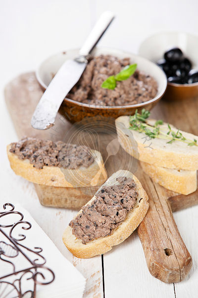 Ciabatta bread with olive paste tapenade