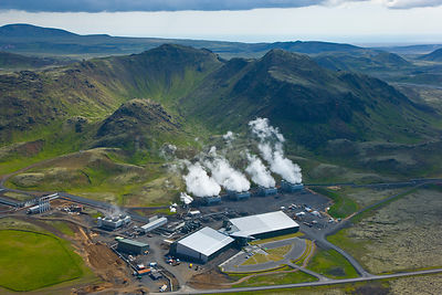 Geothermal power plant seen from the air. Southwest Iceland, July 2009