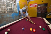 Mozambique, Maputo, pool table at Xipamanine Market