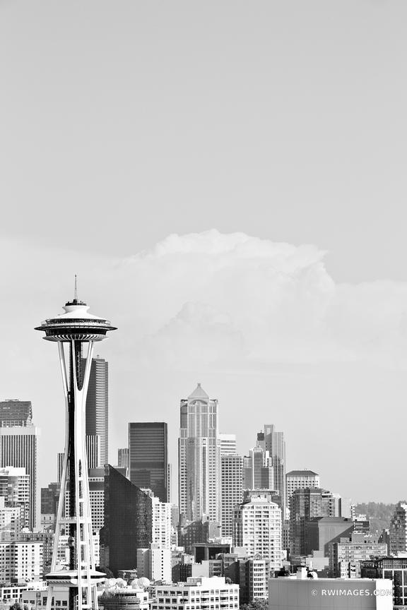 SEATTLE SKYLINE SPACE NEEDLE BLACK AND WHITE VERTICAL