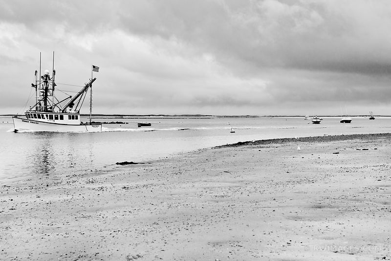 FISHING BOAT IN HARBOR CHATHAM CAPE COD MASSACHUSETTS BLACK AND WHITE