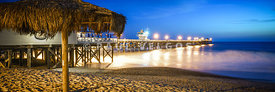 San Clemente Pier Night Panoramic Photo