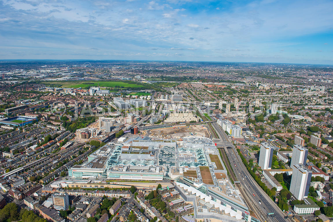 Aerial view of Westfield Shopping Centre, Shepherds Bush, London