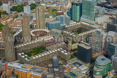 London. Aerial view of the Barbican Estate
