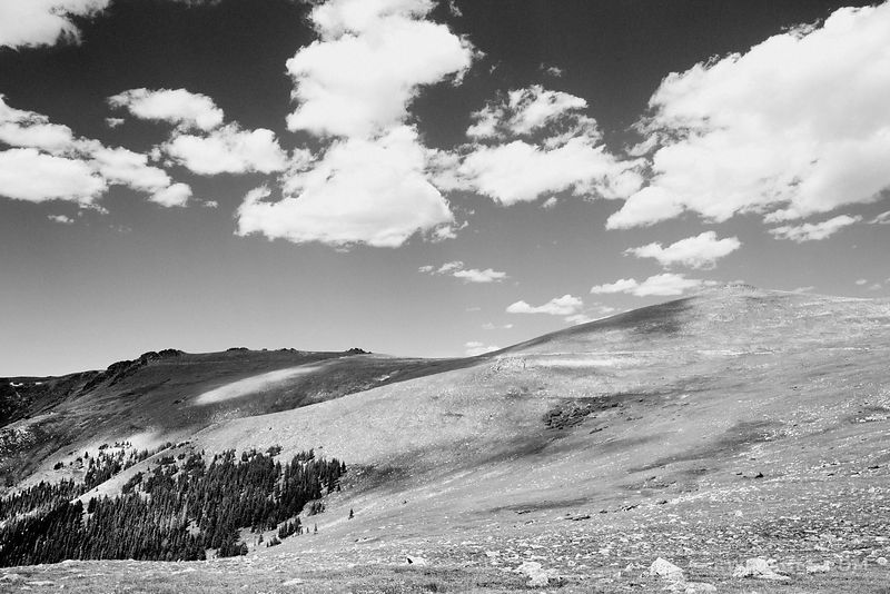 HIGH TUNDRA TRAIL RIDGE ROAD ROCKY MOUNTAIN NATIONAL PARK COLORADO BLACK AND WHITE
