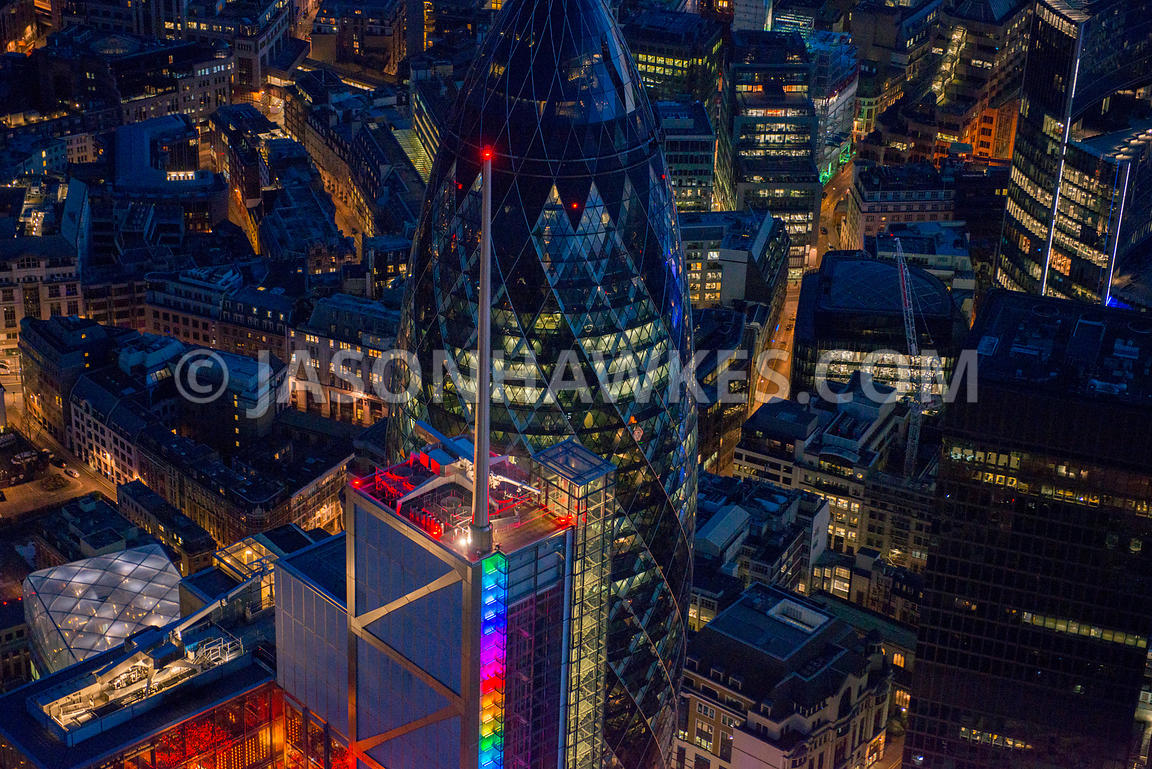Aerial view of Heron Tower at night, London