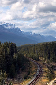 Railway in the Bow Valley, Banff NP, Canadian Rockies.