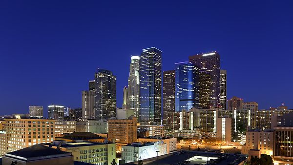 Wide Shot: Clear Prismatic Sunrise Over Downtown L.A.