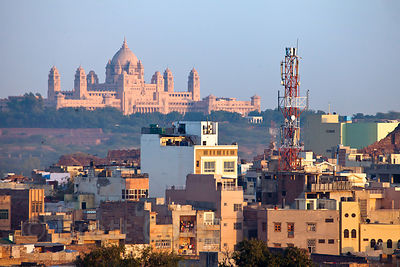 Striking view of Umaid Palace, the largest private residence on Earth, Jodhpur, Rajasthan, India