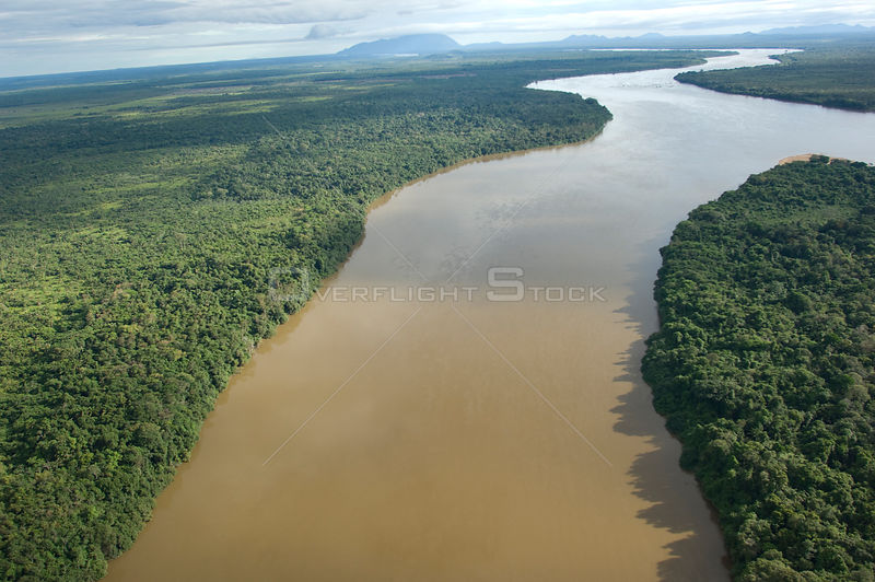 Aerial view of Branco River and its gallery forest, near Boa Vista city, Roraima State, Northern Brazil.