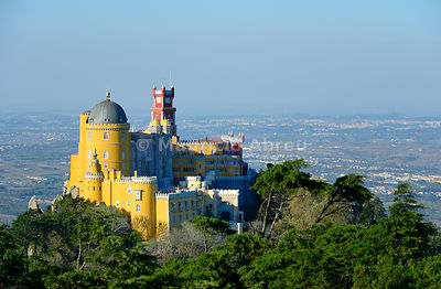Palácio da Pena, built in the 19th century on the hills above Sintra, in the middle of a UNESCO World Heritage Site. Sintra, ...