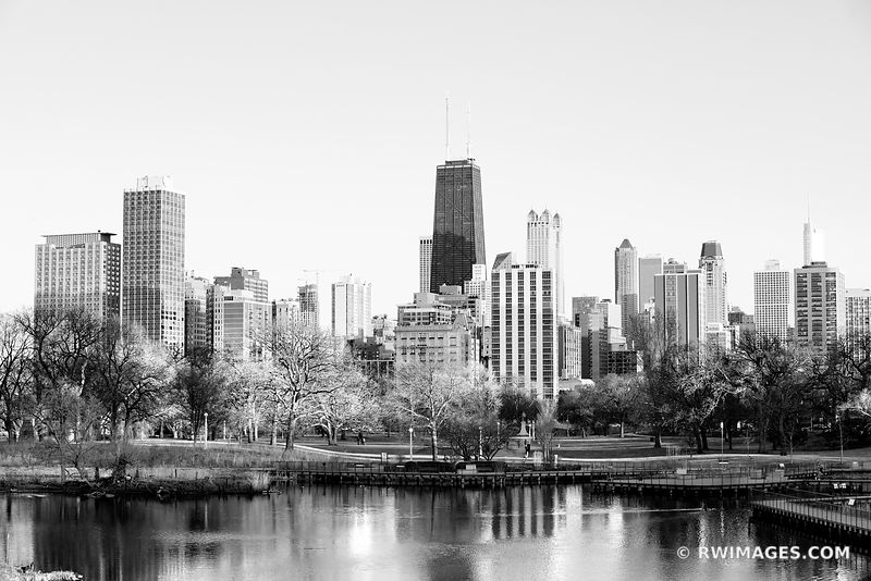 CHICAGO SKYLINE LINCOLN PARK SOUTH POND HANCOCK BUILDING CHICAGO ILLINOIS BLACK AND WHITE