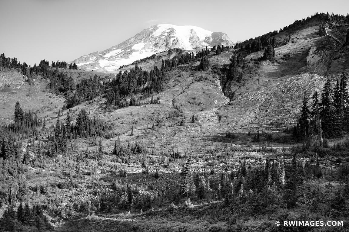MOUNTAIN VALLEY MOUNT RAINIER NATIONAL PARK WASHINGTON STATE BLACK AND WHITE