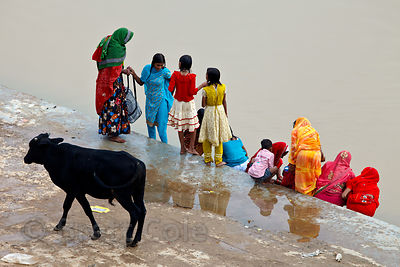 Bathing ghats at the lake in Pushkar, Rajasthan, India