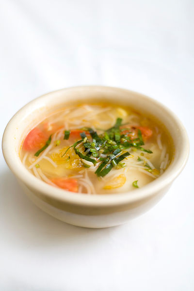A dish of Hot and Sour Seafood and Vegetable Soup
