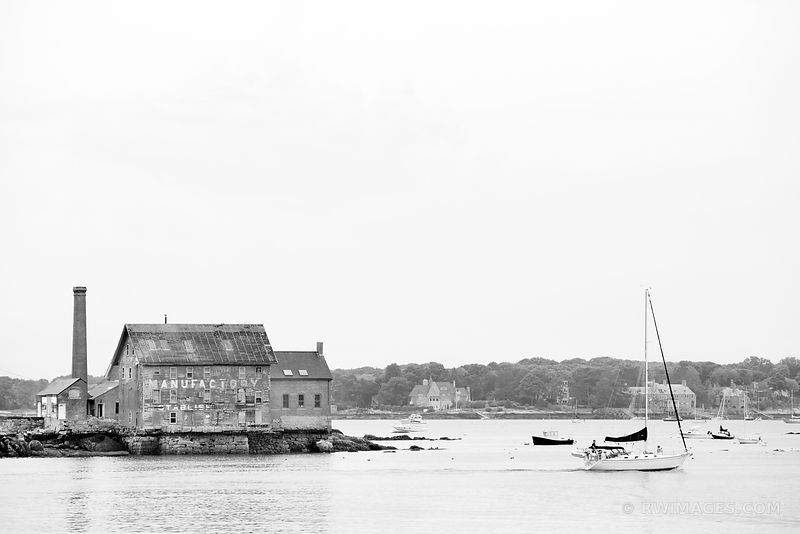 OLD PAINT MANUFACTORY BUILDING GLOUCESTER CAPE ANN BLACK AND WHITE