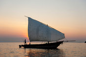 Dhow on lake Malawi, Cape Maclear, Malawi