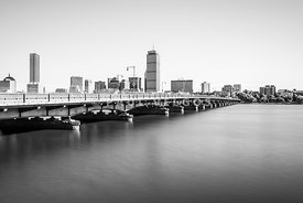 Harvard Bridge Boston Skyline Black and White Photo