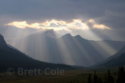 Sunrays over 3,505 mt. (11,500 ft.) Mt. Kitchener and Sunwapta Pass, Jasper NP, Canadian Rockies.