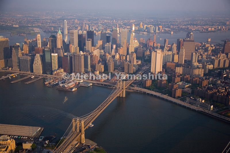 The Brooklyn Bridge leads from Brooklyn to lower Manhattan, where some of New York's oldest structures can be found alongside...