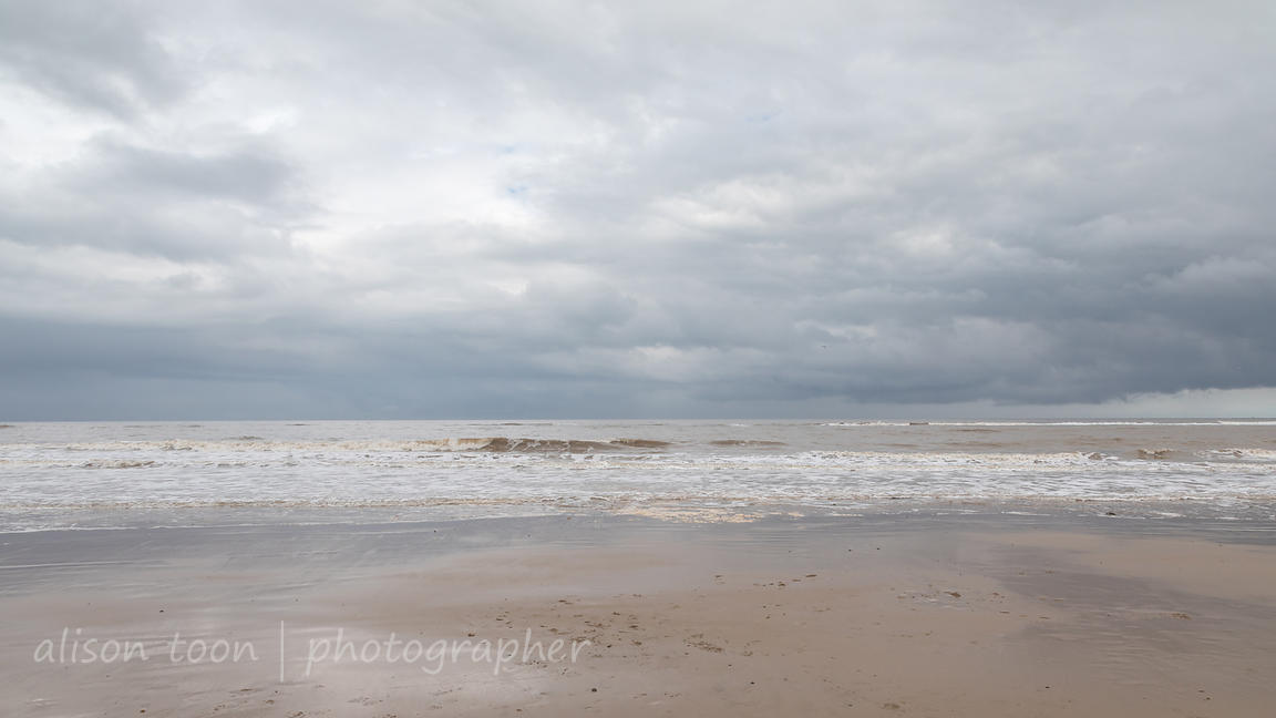 Seascape; dramatic, overcast