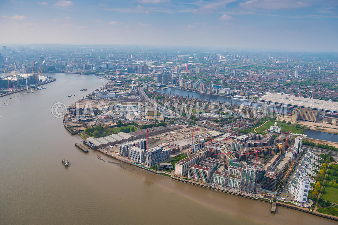 Aerial view over Silvertown, London. Britannia Village (West Silvertown) (London), Excel centre, london, Lyle Park, Peruvian ...